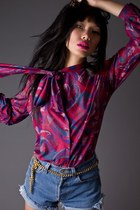 magenta telltale hearts vintage blouse