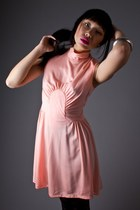 Peach-high-neck-mini-telltale-hearts-vintage-dress