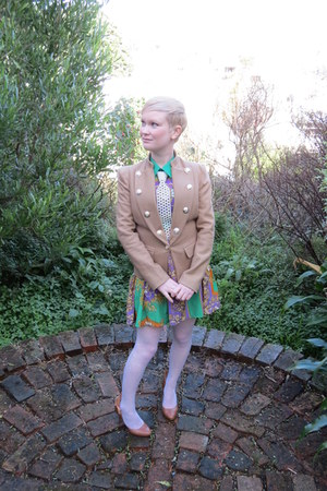 camel Marocka blazer - Romwecom dress - Etsy necklace - Ebay stockings
