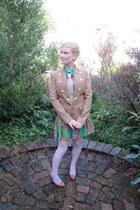 camel Marocka blazer - Romwecom dress - Etsy necklace - Ebay stockings