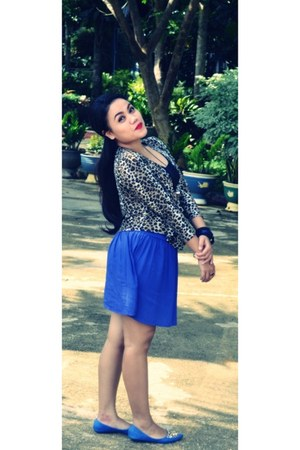 blue skirt - leopard print cardigan