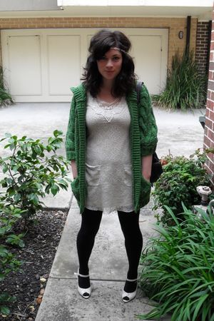 beige Dotti dress - green Sportsgirl cardigan