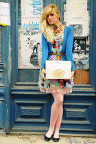blue Zara blazer - sky blue bohoo dress - navy new look flats