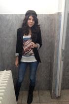 blue Only jeans - black Stradivarius jacket - beatles H&M t-shirt