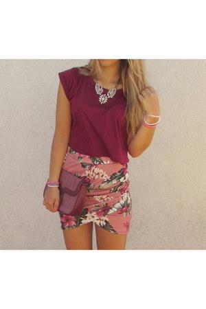 pink floral Zara skirt - brick red Misako purse - ivory Parfois accessories