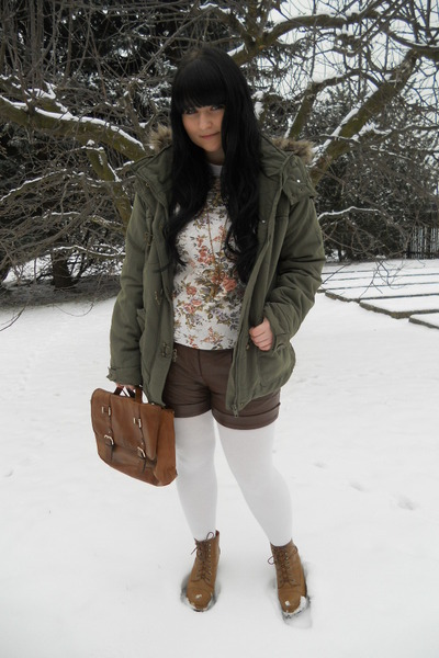 brown H&M bag - olive green New Yorker jacket - white thrifted shirt