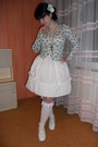 White-bodyline-shoes-white-porcelain-doll-skirt-sky-blue-thrifted-cardigan