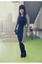 black Gate tights - silver Orsay dress - black New Yorker bag