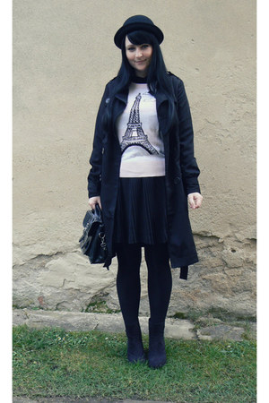 black bowler hat c&a hat - light pink Topshop sweater - black Gate tights