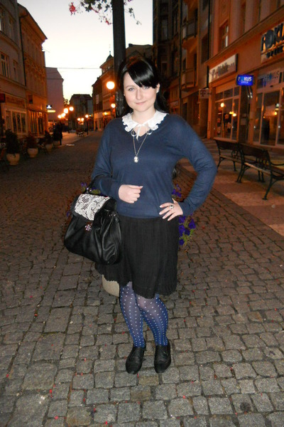black Gate shoes - navy Marks & Spencer sweater - navy lindex tights