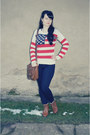 Brown-deichmann-boots-navy-c-a-jeans-red-atmosphere-sweater
