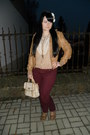 Maroon-lindex-jeans-bronze-gate-jacket-tan-satchel-i-am-bag