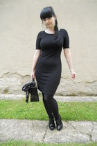 black Orsay dress - black Gate tights - black vintage bag