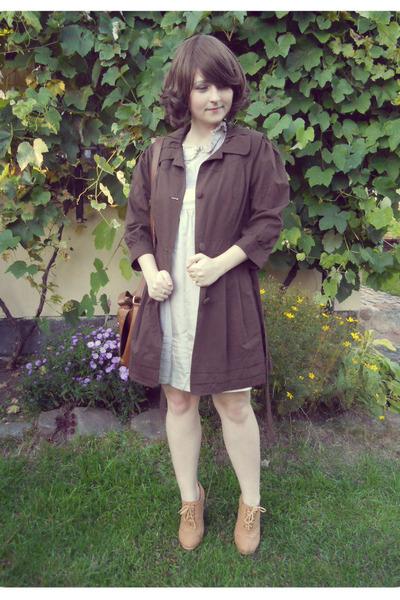 brown satchel H&M bag - beige Atmosphere dress - dark brown Orsay coat
