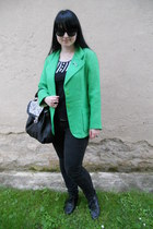 black Gate shoes - black Mudd jeans - chartreuse vintage blazer