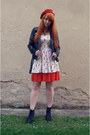 Black-h-m-boots-white-denim-co-dress-red-beret-h-m-hat-black-h-m-jacket