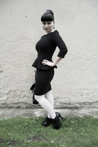 black Orsay dress - white Orsay tights - white thrifted bag