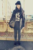black jersey Resrved shirt - black H&M boots - black Denim Co jeans