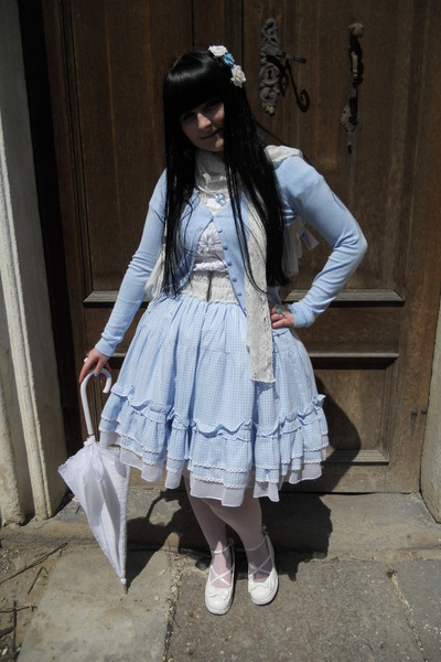 white Bodyline shoes - sky blue Dear Celine skirt - sky blue H&M cardigan