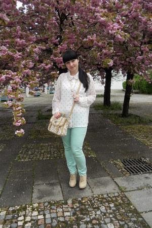 camel satchel I am bag - white polka dot New Yorker shirt