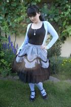 black c&a top - sky blue H&M tights - silver Fan Plus Friend skirt