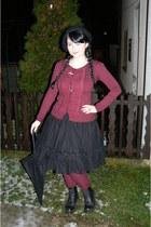 black Dr Martens boots - black Orsay coat - black Gate hat