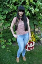 brick red Liz Lisa bag - sky blue c&a jeans - brick red H&M blouse