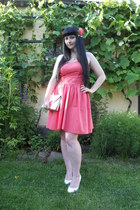 coral Laura Ashley dress - white vintage bag
