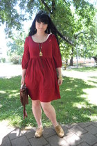 gold H&M bracelet - ruby red H&M dress - brown Gate bag - gold Gate necklace