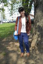 brown Atmosphere jacket - light brown oxfords Gate shoes - blue Denim Co jeans