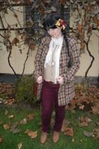 brown Gate shoes - light brown Gate coat - crimson lindex jeans