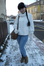 white Atmosphere jacket - sky blue c&a jeans - white Tally Weijl scarf