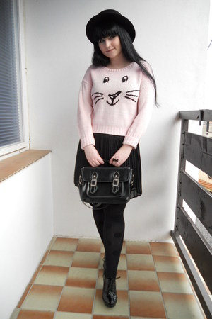 light pink new look sweater - black H&M hat - black lindex tights
