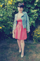 salmon thrifted dress - sky blue Pimkie jacket - beige I am bag