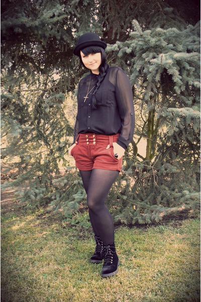 black bowler hat c&a hat - black H&M boots - black sheer Tally Weijl shirt