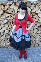 black c&a top - red Gate tights - silver Fan Plus Friend skirt
