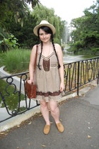 brown Gate bag - dark brown Orsay dress - beige H&M hat
