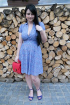 sky blue H&M dress - red New Yorker bag - blue H&M sandals - silver quartz watch