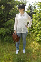 white New Yorker blouse - sky blue c&a jeans - dark brown Gate bag