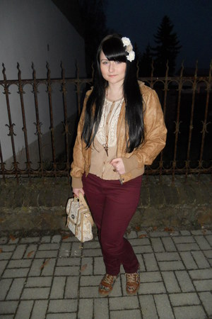 bronze Gate jacket - maroon lindex jeans - tan satchel I am bag
