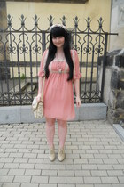 light pink offbrand dress - beige I am bag - gold Tally Weijl necklace