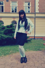 Black-orsay-dress-aquamarine-forever-21-jacket-aquamarine-h-m-tights