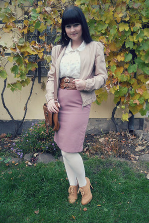 pink vintage skirt - light pink Tally Weijl jacket - white Orsay tights