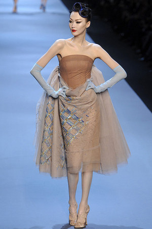 tan poof dior dress - light blue sheer dior gloves
