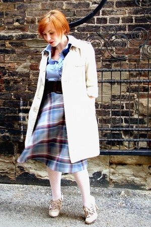 blue thrifted skirt - beige banana republic coat - white We Love Colors tights -