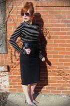 JCrew shirt - BB Dakota skirt - belt - Cole Haan sunglasses