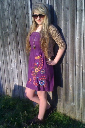 purple Forever 21 dress - unkown brand cardigan - brown Steve Madden shoes - gol