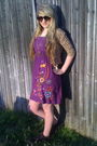 Purple-forever-21-dress-unkown-brand-cardigan-brown-steve-madden-shoes-gol