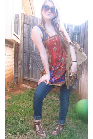 orange Forever 21 via Thrift store shirt - black jeans - brown purse - brown sho
