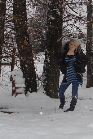 Urban Outfitters shirt - gray Victorias Secret coat - black belt - black boots -